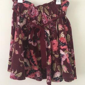 Dresses & Skirts - Maroon floral Lauren Conrad skirt